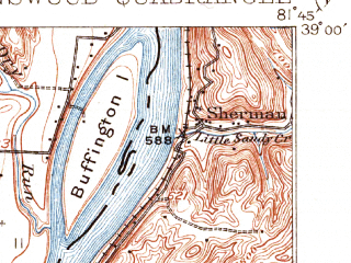 Reduced fragment of topographic map en--usgs--063k--320816--(1908)--N039-00_W082-00--N038-45_W081-45; towns and cities Ravenswood, Hartford City, New Haven
