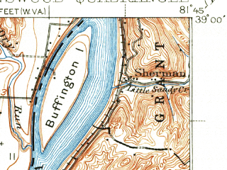 Reduced fragment of topographic map en--usgs--063k--320816--(1926)--N039-00_W082-00--N038-45_W081-45; towns and cities Hartford City, New Haven, Racine