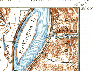 Reduced fragment of topographic map en--usgs--063k--320816--(1928)--N039-00_W082-00--N038-45_W081-45; towns and cities Racine, Ravenswood, Hartford City