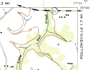 Reduced fragment of topographic map en--usgs--063k--320820--(1943)--N035-00_W077-30--N034-45_W077-15; towns and cities Jacksonville, Half Moon, Piney Green, Pumpkin Center