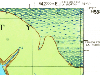 Reduced fragment of topographic map en--usgs--063k--320823--(1958)--N031-15_W091-45--N031-00_W091-30 in area of Lake Mary