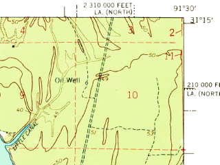 Reduced fragment of topographic map en--usgs--063k--320823--(1967)--N031-15_W091-45--N031-00_W091-30 in area of Lake Mary