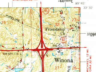 Reduced fragment of topographic map en--usgs--063k--320825--(1978)--N033-30_W090-00--N033-15_W089-45; towns and cities Vaiden