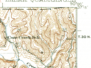 Reduced fragment of topographic map en--usgs--063k--320826--(1935)--N037-15_W090-15--N037-00_W090-00; towns and cities Zalma