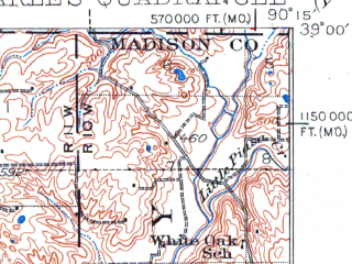 Reduced fragment of topographic map en--usgs--063k--320827--(1927)--N039-00_W090-30--N038-45_W090-15; towns and cities Florissant, Hazelwood, Bridgeton, Dellwood, Black Jack