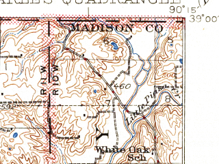 Reduced fragment of topographic map en--usgs--063k--320827--(1933)--N039-00_W090-30--N038-45_W090-15; towns and cities Florissant, Hazelwood, Bridgeton, Black Jack, Dellwood