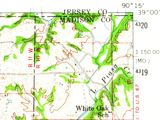 Reduced fragment of topographic map en--usgs--063k--320827--(1954)--N039-00_W090-30--N038-45_W090-15; towns and cities Florissant, Bridgeton, Hazelwood, Dellwood, Black Jack