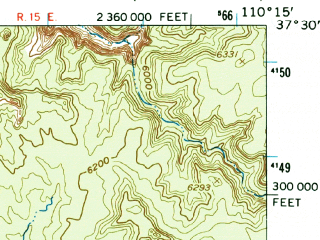 Reduced fragment of topographic map en--usgs--063k--320876--(1954)--N037-30_W110-30--N037-15_W110-15