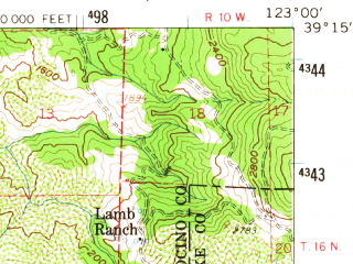 Reduced fragment of topographic map en--usgs--063k--320889--(1958)--N039-15_W123-15--N039-00_W123-00 in area of Lake Mendocino; towns and cities Ukiah
