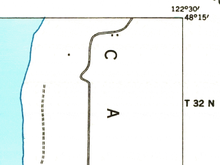 Reduced fragment of topographic map en--usgs--063k--320930--(1939)--N048-15_W122-45--N048-00_W122-30; towns and cities Coupeville, Freeland