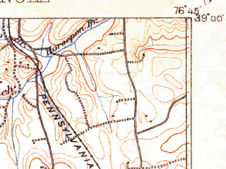 Reduced fragment of topographic map en--usgs--063k--396030--(1900)--N039-00_W077-15--N038-45_W076-45 in area of Potomac; towns and cities Washington, Alexandria, Arlington, Bethesda, Annandale