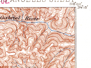 Reduced fragment of topographic map en--usgs--063k--396032--(1894)--N034-15_W118-30--N034-00_W118-00; towns and cities Los Angeles, El Monte, Glendale, East Los Angeles, Alhambra