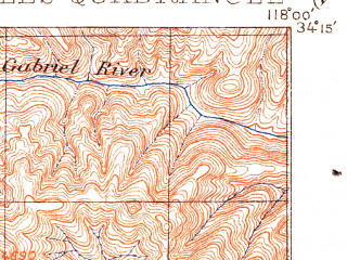 Reduced fragment of topographic map en--usgs--063k--396032--(1900)--N034-15_W118-30--N034-00_W118-00; towns and cities Los Angeles, East Los Angeles, Pasadena, El Monte, Montebello