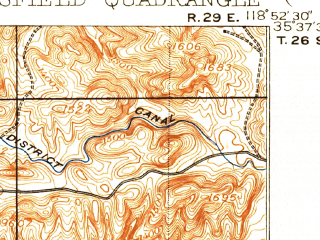 Reduced fragment of topographic map en--usgs--063k--396071--(1906)--N035-38-30_W119-08-30--N035-22-30_W118-52-30; towns and cities Oildale, Greenacres