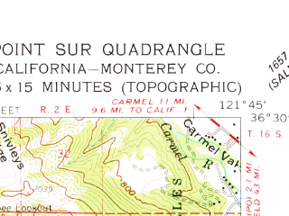 Reduced fragment of topographic map en--usgs--063k--396080--(1956)--N036-30-00_W122-00-00--N036-12-30_W121-45-00