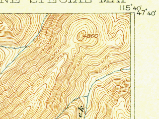 Reduced fragment of topographic map en--usgs--063k--396085--(1903)--N047-40_W116-10--N047-25_W115-40; towns and cities Wallace, Wardner, Kellogg