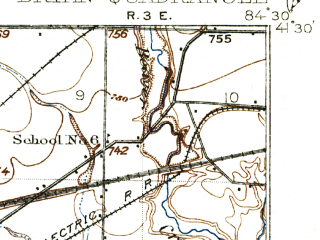 Reduced fragment of topographic map en--usgs--063k--396088--(1914)--N041-30-00_W084-48-15--N041-15-00_W084-30-00; towns and cities Bryan, Edgerton, Hicksville, Ney
