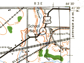 Reduced fragment of topographic map en--usgs--063k--396088--(1943)--N041-30-00_W084-48-15--N041-15-00_W084-30-00; towns and cities Bryan, Edgerton, Hicksville, Ney