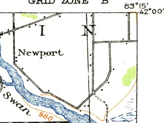 Reduced fragment of topographic map en--usgs--063k--396092--(1914)--N042-00_W083-30--N041-45_W083-15; towns and cities Monroe, South Monroe, Detroit Beach, Luna Pier, Stony Point