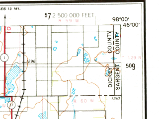 Reduced fragment of topographic map en--usgs--250k--068634--(1954)--N046-00_W100-00--N045-00_W098-00 in area of Columbia Road Reservoir, Swan Lake, Elm Lake; towns and cities Aberdeen, Lowry, Claremont, Tolstoy