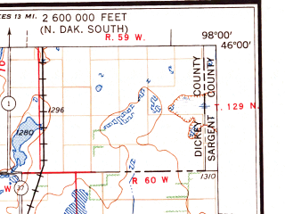 Reduced fragment of topographic map en--usgs--250k--068634--(1956)--N046-00_W100-00--N045-00_W098-00 in area of Columbia Road Reservoir, Swan Lake, Elm Lake; towns and cities Aberdeen, Conde, Venturia, Hillsview
