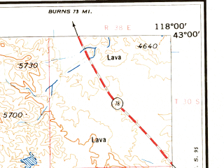 Reduced fragment of topographic map en--usgs--250k--068637--(1962)--N043-00_W120-00--N042-00_W118-00 in area of Crump Lake, Bluejoint Lake, Hart Lake