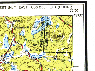 Reduced fragment of topographic map en--usgs--250k--068639--(1948)--N043-00_W074-00--N042-00_W072-00 in area of Quabbin Reservoir; towns and cities Albany, Springfield, Troy, Schenectady, Chicopee