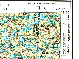 Reduced fragment of topographic map en--usgs--250k--068639--(1956)--N043-00_W074-00--N042-00_W072-00 in area of Quabbin Reservoir; towns and cities Springfield, Albany, Schenectady, Chicopee, Troy