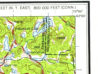 Reduced fragment of topographic map en--usgs--250k--068639--(1959)--N043-00_W074-00--N042-00_W072-00 in area of Quabbin Reservoir; towns and cities Springfield, Albany, Schenectady, Chicopee, Troy