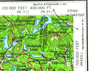 Reduced fragment of topographic map en--usgs--250k--068639--(1962)--N043-00_W074-00--N042-00_W072-00 in area of Quabbin Reservoir; towns and cities Albany, Springfield, Schenectady, Chicopee, Troy
