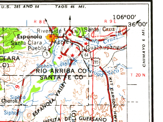 Reduced fragment of topographic map en--usgs--250k--068640--(1958)--N036-00_W108-00--N035-00_W106-00 in area of Cochita Lake; towns and cities Albuquerque, South Valley, Rio Rancho, Los Alamos, Grants