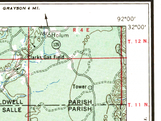 Reduced fragment of topographic map en--usgs--250k--068641--(1955)--N032-00_W094-00--N031-00_W092-00 in area of Catahoula Lake; towns and cities Alexandria, Fort Polk South, Natchitoches, Pineville, Winnfield