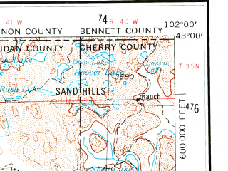 Reduced fragment of topographic map en--usgs--250k--068642--(1955)--N043-00_W104-00--N042-00_W102-00 in area of Box Butte Reservoir, Whitney Lake, Twin Lakes; towns and cities Chadron, Alliance, Hemingford, Marsland, Rushville