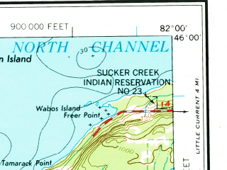 Reduced fragment of topographic map en--usgs--250k--068643--(1969)--N046-00_W084-00--N045-00_W082-00 in area of Lake Kagawong, Mindemoya Lake, Grand Lake; towns and cities Alpena, Posen, Providence Bay, De Tour Village