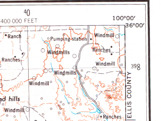 Reduced fragment of topographic map en--usgs--250k--068644--(1954)--N036-00_W102-00--N035-00_W100-00 in area of Lake Meredith, Lake Tanglewood; towns and cities Amarillo, Dumas, Pampa, Borger, Mobeetie