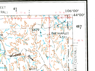 Reduced fragment of topographic map en--usgs--250k--068650--(1955)--N044-00_W108-00--N043-00_W106-00 in area of S. Fk. Powder, Middle Fk. Powder, Salt Creek; towns and cities Edgerton, Kaycee, Midwest