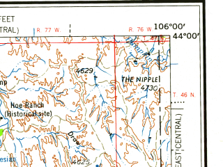 Reduced fragment of topographic map en--usgs--250k--068650--(1958)--N044-00_W108-00--N043-00_W106-00 in area of S. Fk. Powder, Middle Fk. Powder, Salt Creek; towns and cities Midwest, Edgerton, Kaycee