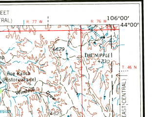Reduced fragment of topographic map en--usgs--250k--068650--(1962)--N044-00_W108-00--N043-00_W106-00 in area of S. Fk. Powder, Middle Fk. Powder, Salt Creek; towns and cities Kaycee, Midwest, Edgerton