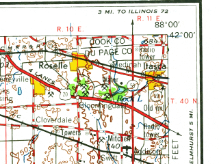 Reduced fragment of topographic map en--usgs--250k--068655--(1961)--N042-00_W090-00--N041-00_W088-00; towns and cities Joliet, Aurora, Naperville, De Kalb, Wheaton