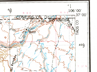 Reduced fragment of topographic map en--usgs--250k--068657--(1954)--N037-00_W108-00--N036-00_W106-00 in area of Chama, San Juan, Abiquiu Reservoir; towns and cities Espanola, Aztec, San Juan, Alcalde, Chama