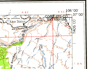 Reduced fragment of topographic map en--usgs--250k--068657--(1962)--N037-00_W108-00--N036-00_W106-00 in area of Chama, San Juan, Abiquiu Reservoir; towns and cities Espanola, Aztec, Bloomfield, San Juan, Alcalde