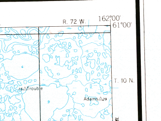 Reduced fragment of topographic map en--usgs--250k--068658--(1954)--N061-00_W165-00--N060-00_W162-00 in area of Baird Inlet, Dall Lake, Nunavakpak Lake; towns and cities Newtok, Nightmute, Atmautluak