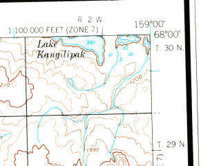 Reduced fragment of topographic map en--usgs--250k--068659--(1956)--N068-00_W162-00--N067-00_W159-00 in area of Tulugak Lake
