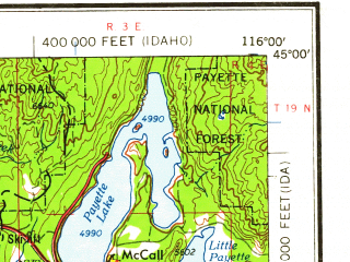 Reduced fragment of topographic map en--usgs--250k--068660--(1959)--N045-00_W118-00--N044-00_W116-00 in area of Weiser, North Fk. Payette, North Fk. Payette; towns and cities Baker, Ontario, Payette, Mccall, Weiser