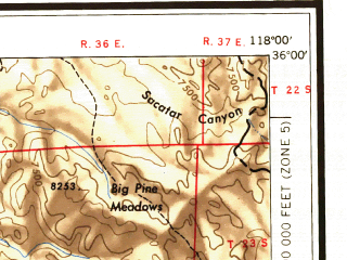 Reduced fragment of topographic map en--usgs--250k--068661--(1955)--N036-00_W120-00--N035-00_W118-00 in area of Isabella Lake; towns and cities Bakersfield, Oildale, Delano, Lamont, Wasco