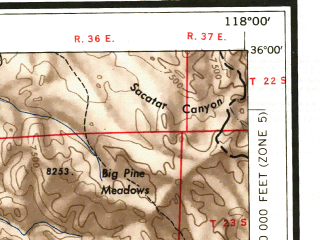 Reduced fragment of topographic map en--usgs--250k--068661--(1956)--N036-00_W120-00--N035-00_W118-00 in area of Isabella Lake; towns and cities Bakersfield, Oildale, Delano, Lamont, Wasco