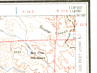 Reduced fragment of topographic map en--usgs--250k--068661--(1960)--N036-00_W120-00--N035-00_W118-00 in area of Isabella Lake; towns and cities Bakersfield, Oildale, Delano, Lamont, Wasco