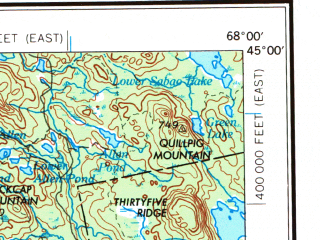 Reduced fragment of topographic map en--usgs--250k--068662--(1956)--N045-00_W070-00--N044-00_W068-00 in area of Penobscot, Graham Lake, Great Pond; towns and cities Augusta, Bangor, Waterville, Gardiner, Belfast