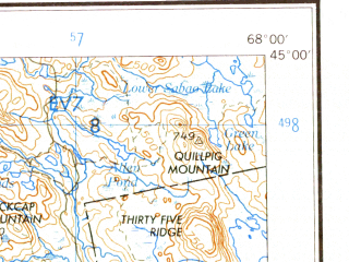 Reduced fragment of topographic map en--usgs--250k--068662--(1960)--N045-00_W070-00--N044-00_W068-00 in area of Penobscot, Graham Lake, Great Pond; towns and cities Augusta, Bangor, Waterville, Skowhegan, Old Town