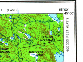 Reduced fragment of topographic map en--usgs--250k--068662--(1961)--N045-00_W070-00--N044-00_W068-00 in area of Penobscot, Graham Lake, Great Pond; towns and cities Augusta, Bangor, Waterville, Winslow, Ellsworth